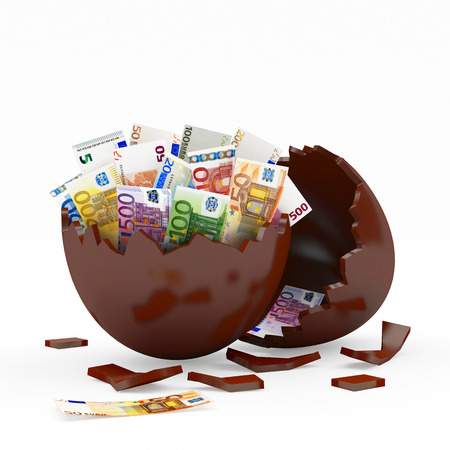 broken eggs: Chocolate broken egg shell full of Euro bills isolated on white background. 3D illustration