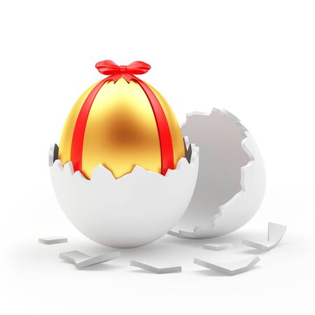 broken eggs: Golden Easter egg with red ribbon in a white eggshell. 3D illustration