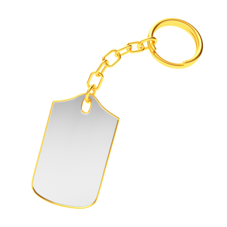 key ring: Blank key chain with golden key ring isolated on white background. 3D illustration Stock Photo