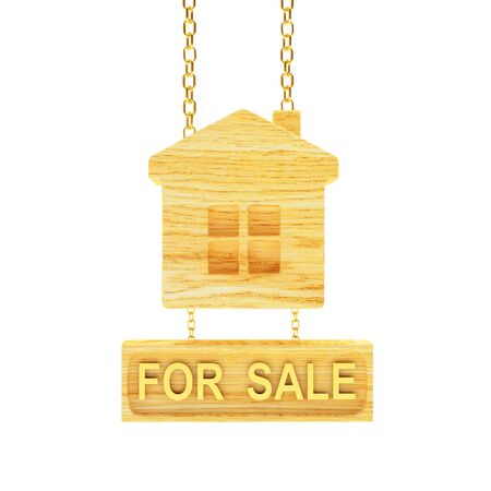 Wooden sign in the shape of house with text for sale isolated on white background. 3D illustration