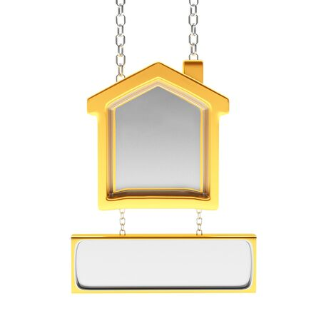 house for sale: Real estate concept. Golden sign in the shape of house with space for text isolated on white background. 3D illustration Stock Photo