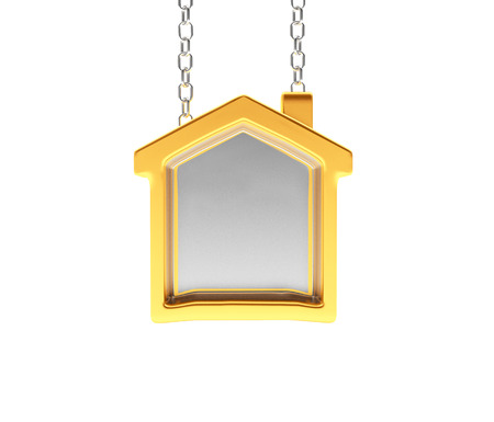 Golden sign in the shape of house with space for text isolated on white background. 3D illustration