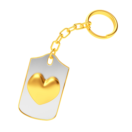 Golden heart icon on silver key chain isolated on white background. 3D illustration Stock Photo