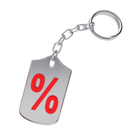 Red percentage sign on silver key chain isolated on white background. 3D illustration