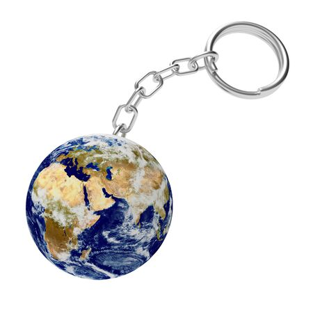 Key chain in the shape of planet Earth. 3D illustration.