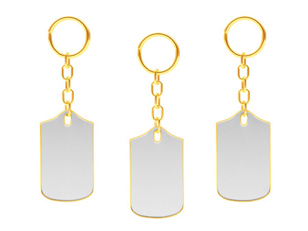 personal ornaments: Set of blank key chains with golden key rings isolated on white background. 3D illustration Stock Photo