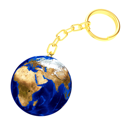 Key chain in the shape of planet earth 3d illustration stock photo key chain in the shape of planet earth with golden chain 3d illustration elements gumiabroncs