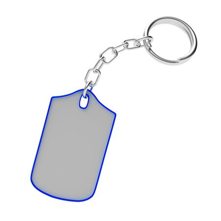 white trim: Blank key chain with blue trim isolated on white background. 3D illustration Stock Photo