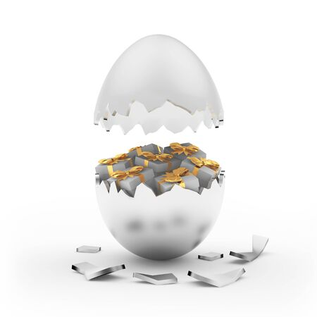 Broken silver Easter egg with gift boxes inside isolated on white. 3D illustrati