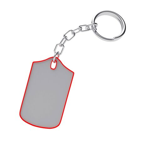 Blank key chain with red trim isolated on white background. 3D illustration
