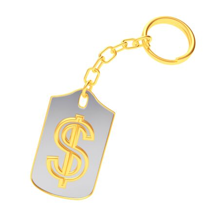 stability: Golden dollar sign on silver key chain isolated on white background. 3D illustration Stock Photo
