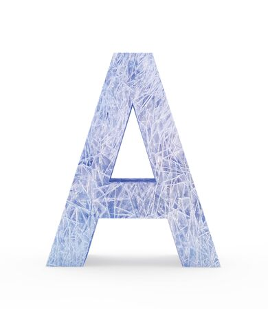 Ice letter A isolated on white background. 3D illustration
