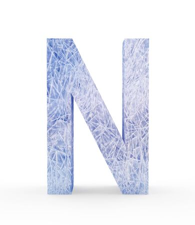refrigerate: Ice letter N isolated on white background. 3D illustration Stock Photo