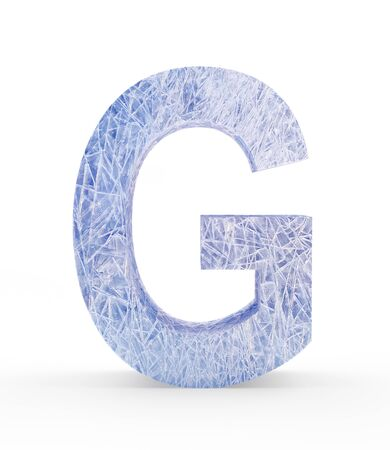 refrigerate: Ice letter G isolated on white background. 3D illustration