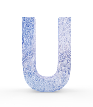 Ice letter U isolated on white background. 3D illustration