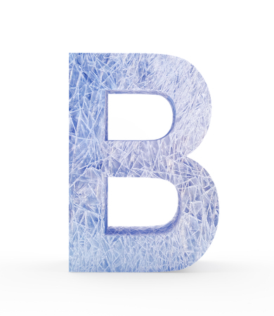 refrigerate: Ice letter B isolated on white background. 3D illustration