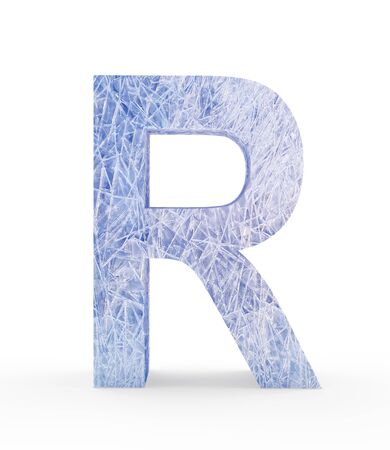 Ice letter R isolated on white background. 3D illustration Stock Photo