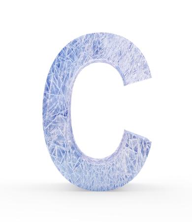Ice letter C isolated on white background. 3D illustration