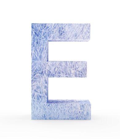 e white: Ice letter E isolated on white background. 3D illustration Stock Photo