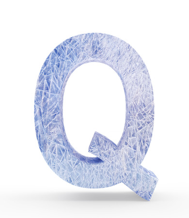 Ice letter Q isolated on white background. 3D illustration Stock Photo