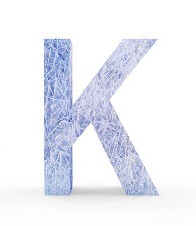Ice letter K isolated on white background. 3D illustration