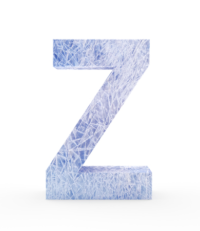 refrigerate: Ice letter Z isolated on white background. 3D illustration