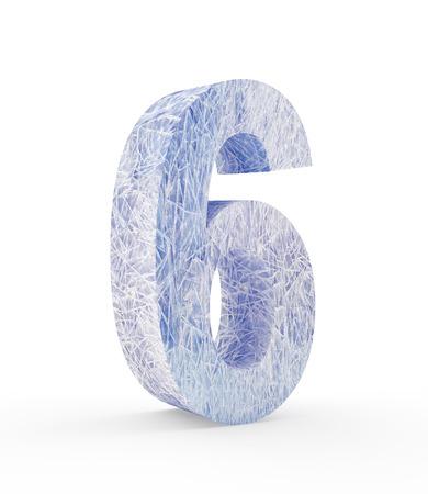 Ice number six isolated on white background. 3D illustration Stock Photo