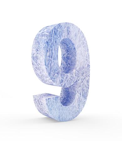 Ice number nine isolated on white background. 3D illustration