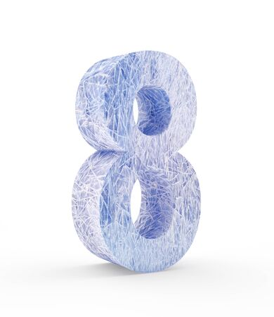 Ice number eight isolated on white background. 3D illustration