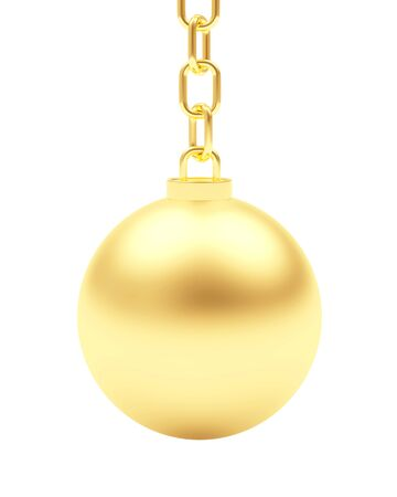 Golden ball hanging on chain isolated on white background. 3D illustration