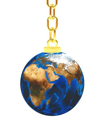 Planet Earth on golden chain isolated on white background. 3D illustration. Stock Photo