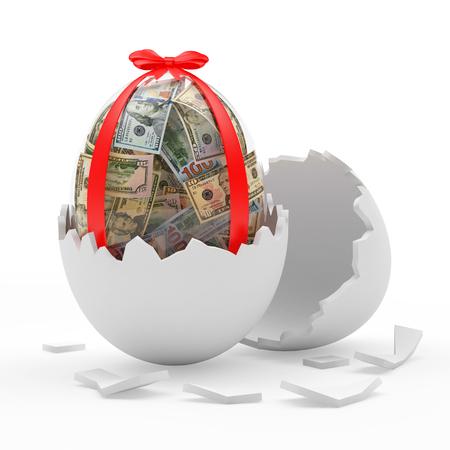 Glass Easter egg full of dollar bills in broken white eggshell. 3D illustration