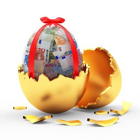 Glass Easter egg full of euro bills in broken golden eggshell. 3D illustration Stock Photo