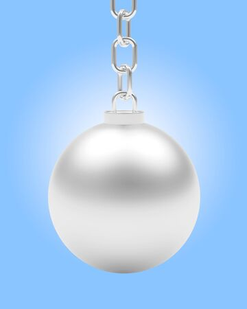 Silver ball hanging on chain on blue background. 3D illustration