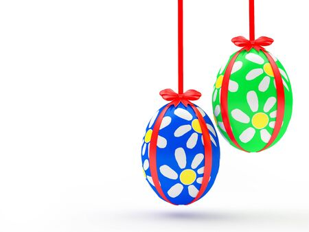 paschal: Blue and green handmade Easter eggs hanging on red ribbons with space for text isolated on white background. 3D illustration