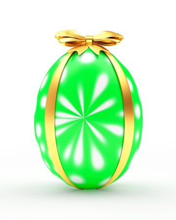 paschal: Easter gift. Green handmade egg with golden ribbon isolated on a white background. 3D illustration