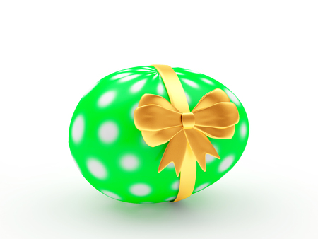 Easter gift. Green handmade egg with golden ribbon isolated on a white background. 3D illustration