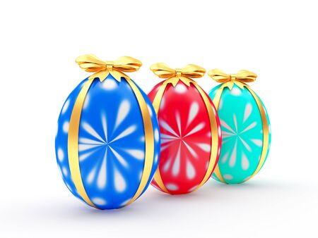 paschal: Three handmade Easter eggs with golden ribbon isolated on a white background. 3D illustration