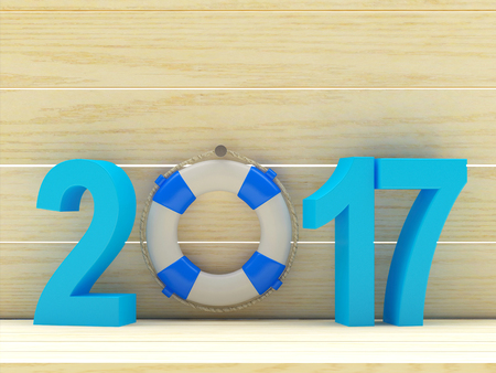 Lifebuoy and blue in 2017 with space for text on wooden background. 3D illustration