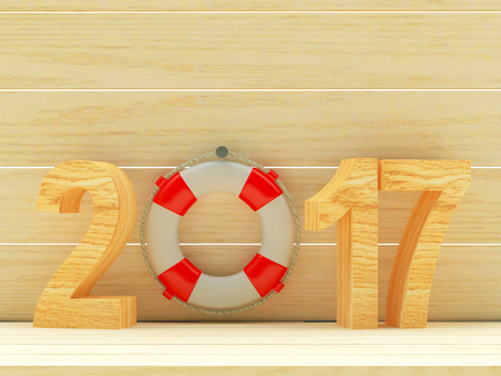 Red lifebuoy and 2017 numbers on wooden background with space for text. 3D illustration Stock Photo