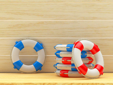 Red and blue lifebuoys on wooden background. 3d illustration Stock Photo