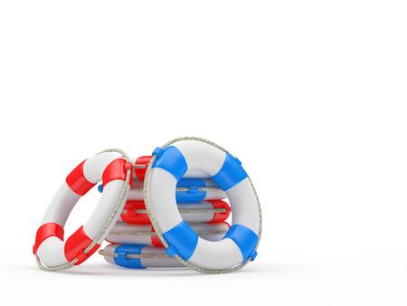 Haufen von Rettungsringen isoliert auf weißem Hintergrund. 3d darstellung Standard-Bild - 74578375