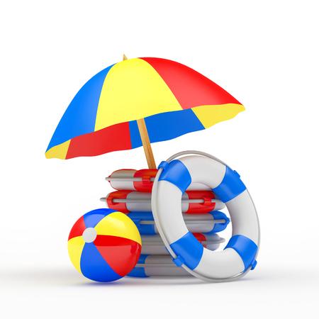 white bacground: Beach umbrella, ball and pile of lifebuoys isolated on white bacground. 3D illustration