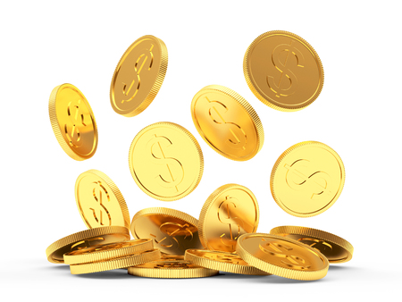 Pile of falling golden coins isolated on a white background. 3D illustration.