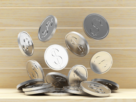Pile of falling silver coins on wooden background. 3D illustration.