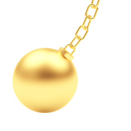 Swinging golden ball on chain isolated on a white background. 3D illustration Stock Photo