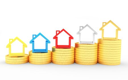 Real estate concept. Graph of colorful icons of houses on golden coins isolated on white background. 3D illustration