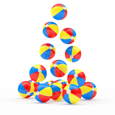 Pile of falling colorful beach balls isolated on white. 3D illustration Stock Photo