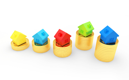 Group of colorful houses on stacks of golden coins isolated on white background. 3D illustration