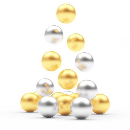 business graphics: Pile of falling golden and silver spheres isolated on white. 3D illustration
